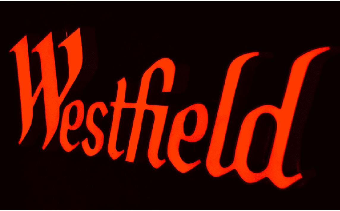 Westfield 3D illuminated sign